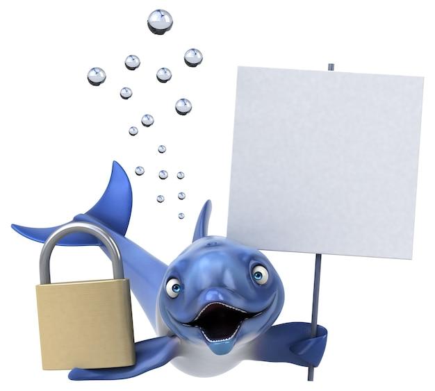 Illustrazione 3d delfino divertente