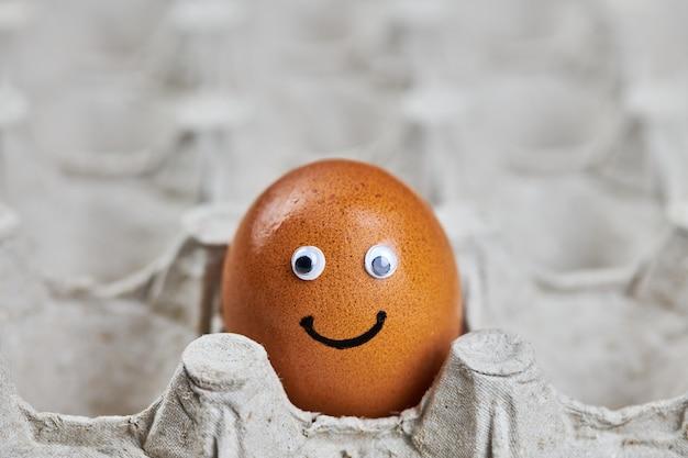 Смешное лицо пасхального куриного яйца в бумажном лотке для яиц. свежее натуральное яйцо, копия пространства