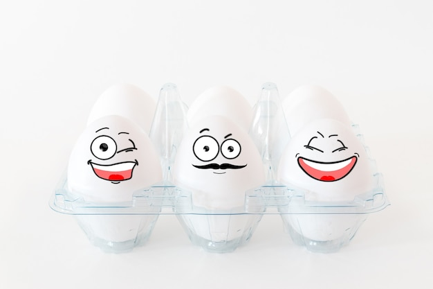 Funny easter eggs with different  funny faces