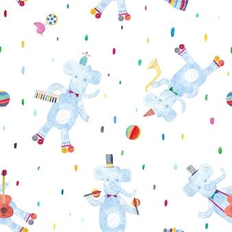 楽器、赤ちゃんのおもちゃを持つ面白い象。水彩のシームレスなパターン。ファブリック、テキスタイル、保育園の壁紙の創造的な幼稚な背景。