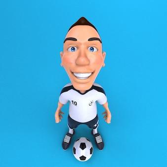 面白いサッカー選手の3dイラスト