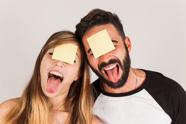 Funny friends with post its on head