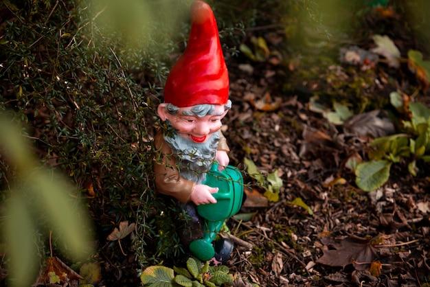 Funny garden gnome outdoors