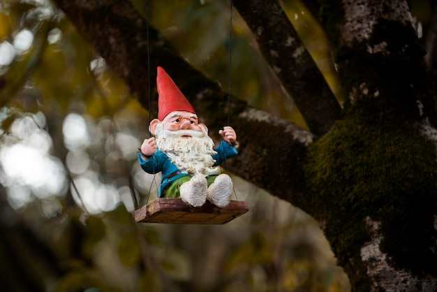 Funny garden gnome with copy space