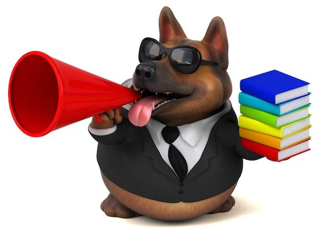 Funny german shepherd dog 3d illustration