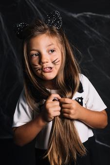 Funny girl in cat costume