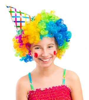 Funny girl in clown wig isolated on white background