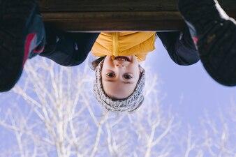 Funny girl on playground