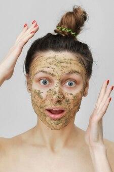 Funny girl portrait. skin care