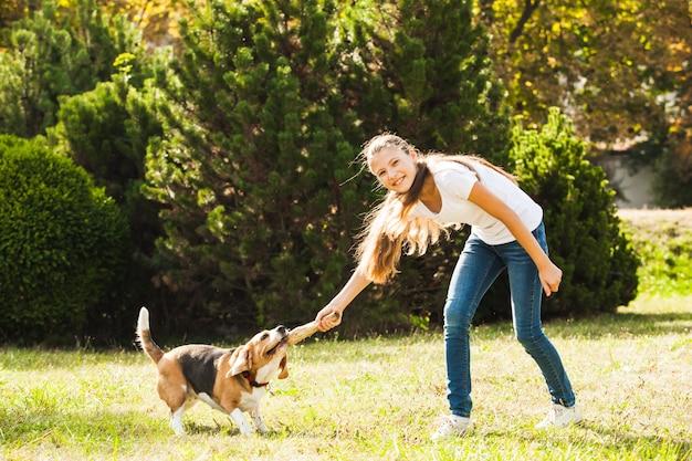 Забавная девочка бросает палку для активной собаки породы бигль в парке