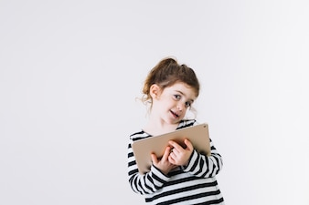 Funny girl with tablet
