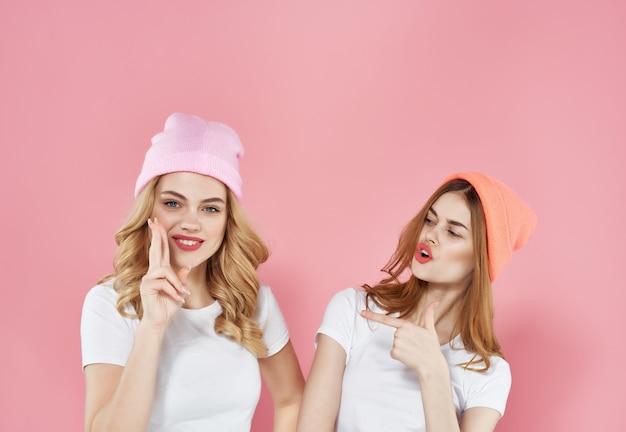 Funny girlfriends in white tshirts fashion modern style friendship