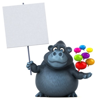 Funny gorilla 3d illustration