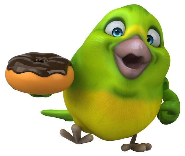 Illustrazione 3d divertente dell'uccello verde