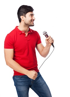 Funny guy singing on white background