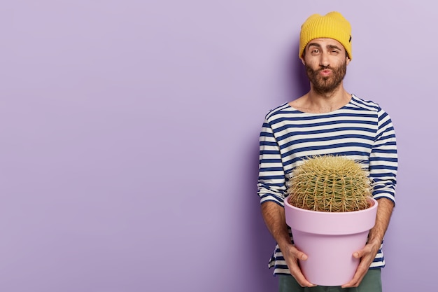 Funny handsome man keeps lips folded, raises eyebrows, holds big cactus, likes growing indoor plants, dressed in casual wear