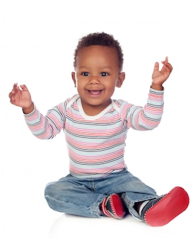 Funny and happy african baby