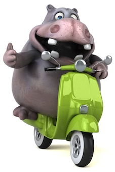 Funny hippo 3d illustration