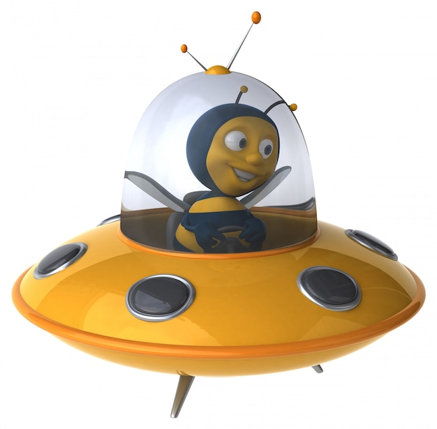Funny illustrated bee in a spaceship