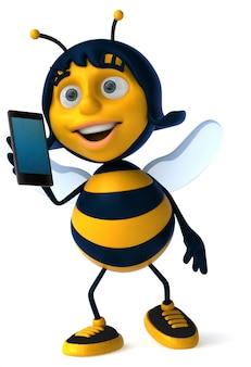 スマートフォンで話している面白いイラスト蜂