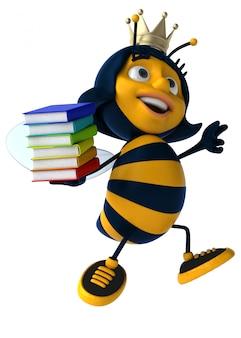 本の山を保持している王冠を身に着けている面白いイラスト蜂