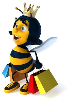 Funny illustrated bee with shopping bags wearing a crown