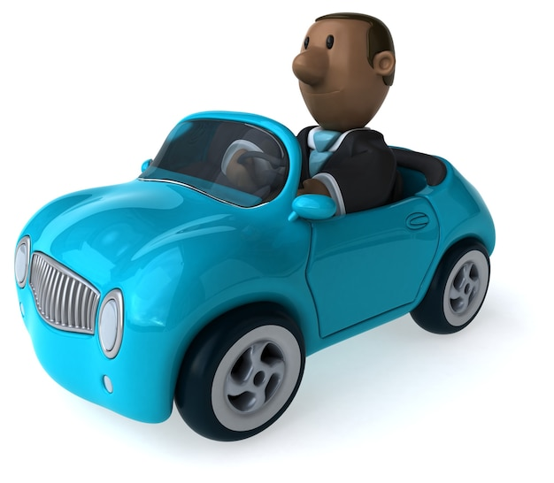 Funny illustrated businessman and a car 3d rendered