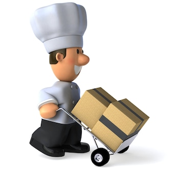 Funny illustrated chef carrying boxes