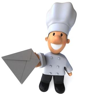 Забавный иллюстрированный повар держит письмо