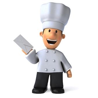 Забавный иллюстрированный повар с конвертом