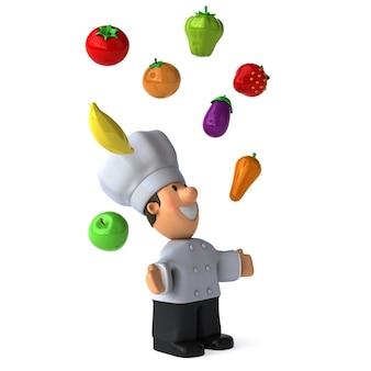 Funny illustrated chef juggling