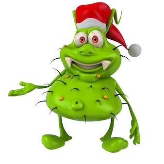 산타 클로스 모자를 쓰고 재미 일러스트 세균