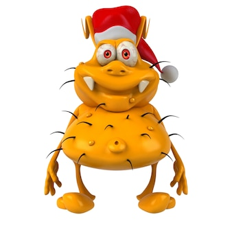 Смешной иллюстрированный зародыш в шляпе санта-клауса