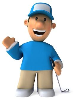 Забавный иллюстрированный игрок в гольф