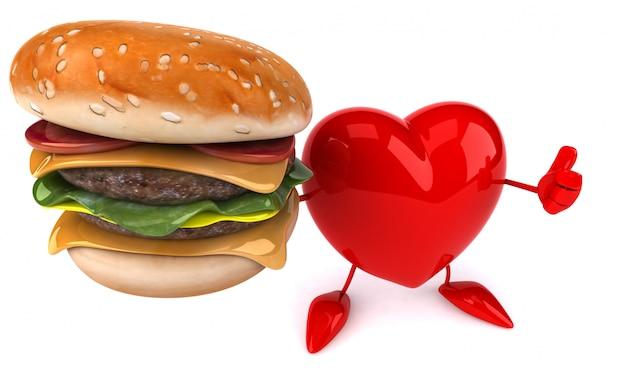 ハンバーガーを持って面白いイラストハート