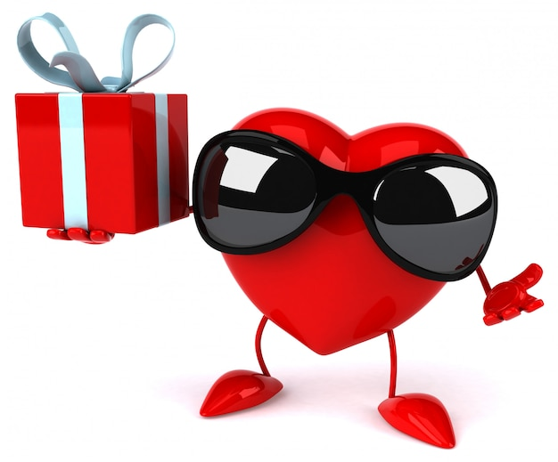 Funny illustrated heart holding a present box