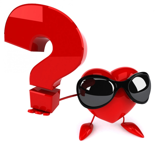 Funny illustrated heart holding a question mark