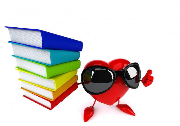 Funny illustrated heart holding a stack of books