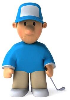 Забавный иллюстрированный грустный игрок в гольф