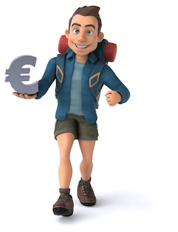 Funny illustration of a 3d cartoon backpacker
