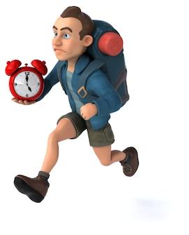 Funny illustration of a 3d cartoon backpacker