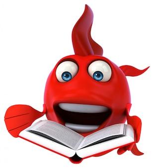 本を読んで面白いイラスト赤い魚