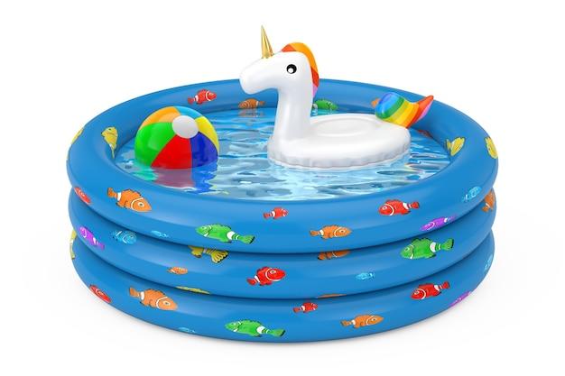 흰색 바탕에 파란색 고무 풍선 어린이 수영장에서 여름 수영장을 위한 재미있는 풍선 유니콘 반지. 3d 렌더링