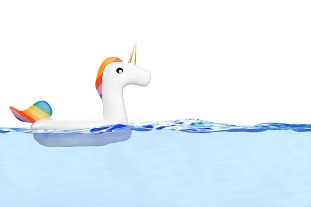 흰색 바탕에 수영장이나 바닷물에 있는 여름 수영장을 위한 재미있는 풍선 유니콘 링. 3d 렌더링