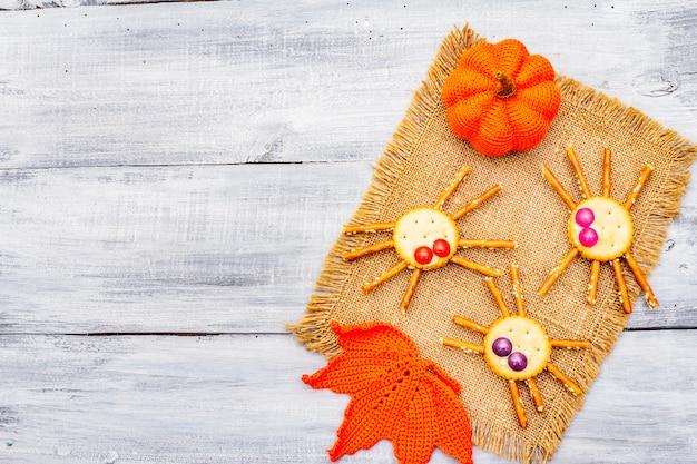 Funny kids food. edible spiders, halloween concept
