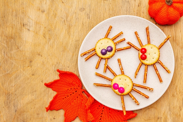 Funny kids food. edible spiders, halloween concept