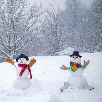 面白い笑い驚いた雪だるまの肖像画。秘密のファンタジー。明けましておめでとう雪だるまの友達。愛を信頼しなさい。恋に官能的な雪だるまカップルのロマンチックな肖像画。