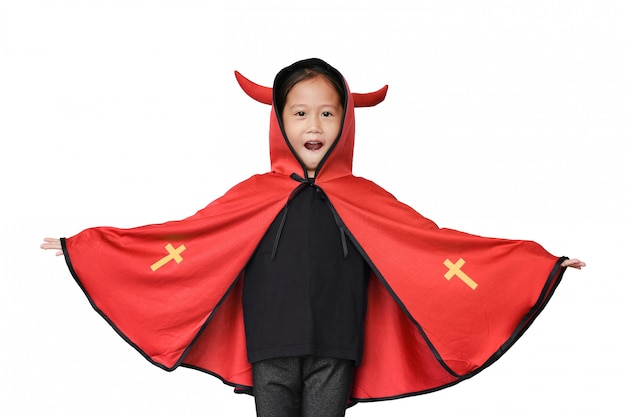 Funny little asian child girl dressed in halloween costume