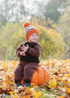 秋の公園でオレンジ色のカボチャと面白い小さな男の子