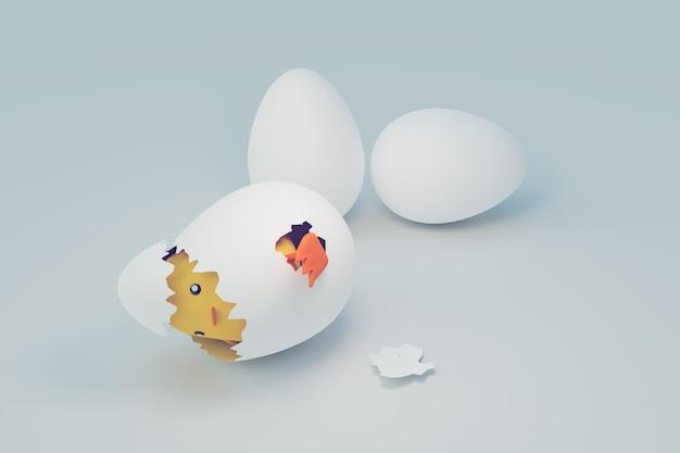 새로 태어난 재미있는 작은 닭, 재미있는 동물, 3d 일러스트레이션 렌더링